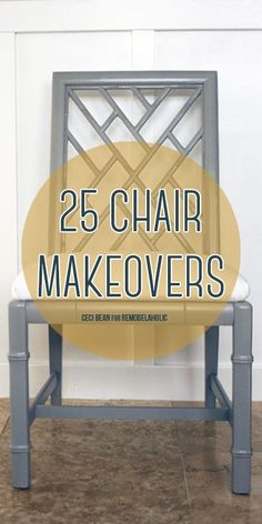 New life for old chairs -- 25 chair makeovers via Remodelaholic.com #chair #makeover #furniture