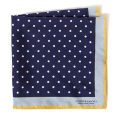 Blue Print Mini Dot Silk Handkerchief, Gieves & Hawkes