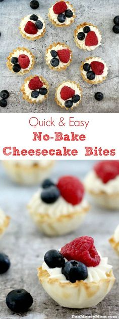 No Bake Cheesecake Bites - Need a fun and easy recipe for bite size desserts? These cheesecake bites are the perfect easy dessert recipe for any occasion. via # finger Desserts Easy No Bake Cheesecake Bites Mini Desserts, Finger Food Desserts, Bite Size Desserts, Desserts To Make, Party Desserts, No Bake Desserts, Dessert Recipes, Party Appetizers, Party Recipes