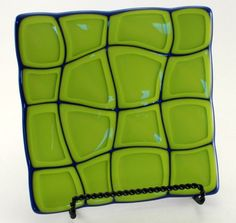 Royal Blue and Lemon Grass Green Wavy Retro Design Fused Glass Plate