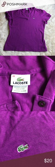 Lacoste Women's Polo Condition: Very good. No stains, rips, or odors. Minimal signs of previously being worn. Please view listing pictures & additional questions are always welcomed. All items are honestly presented to the best of my knowledge, and are stored in a non-smoking environment. No returns Lacoste Tops