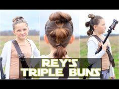 Rey's Triple Buns | The Force Awakens | Star Wars Hairstyles - YouTube