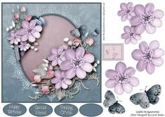 Topper Elegant 11 on Craftsuprint designed by Carol James - Beautiful flowers on a oval shape with a lace surround embellished with pearls. Some decoupage pieces for that 3d effect. Can be used for lots of different occasions. A small stamp image is also included for you to use as you wish.3 sentiment tags and one blank tag are included. Sentiments read:Happy BirthdaySpecial FriendThinking Of You - Now available for download!