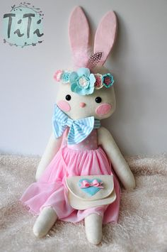 Lola Felt bunny doll Handmade Doll Stuffed toy Cloth Doll