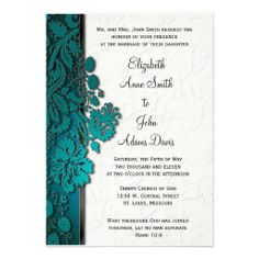 Break Through Damask Teal Wedding Invitatio Personalized Invitations