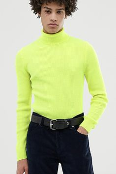 e6e9f5658161 ASOS DESIGN muscle fit ribbed roll neck jumper in neon yellow #ad (men,