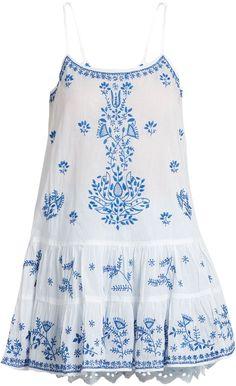 JULIET DUNN Embroidered ruffled-hem cotton-voile kaftan