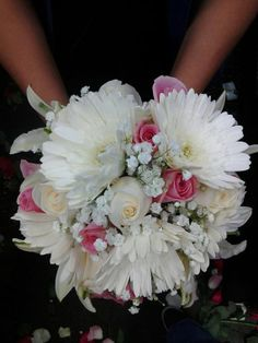 Gerbera Daisies Roses & Lilies Bridal Bouquet by FreshFloralbyJessica on Etsy