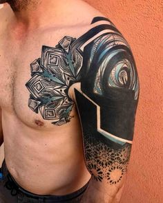 awesome shoulder to chest tattoo