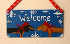 Dachshund WELCOME Decor Sign Winter by MaxMinnieandMe on Etsy