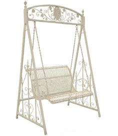 Cream Metal Garden Swing