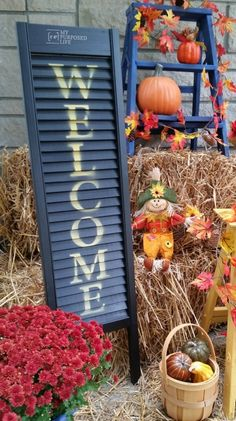 How to make cute porch decor using an old shutter or bi-folding door. Stenciled Welcome sign will be a great addition to your porch to welcome your guests.