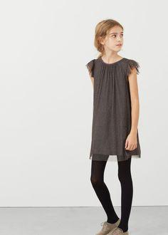 Vestido pormenores metalizados -  Criança | MANGO Kids Portugal