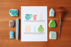 My Cozy Kitchen  Handcarved & Handprinted by PaprikaPaperGoods