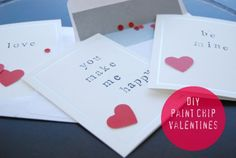 cards made with alphabet stamps and heart punch using red paint chip  Cute