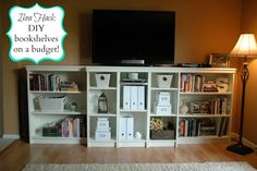 """Grace Abound: """"Built-in"""" Billy Bookcases - our first Ikea hack! DIY bookshelves on a budget.Let Grace Abound: """"Built-in"""" Billy Bookcases - our first Ikea hack! DIY bookshelves on a budget. Ikea Billy Bookcase Hack, Billy Bookcases, Bookcase Tv Stand, Bookshelves, Bookcase Closet, Bedroom Bookcase, Bookshelf Door, Bookcase White, Closet Rod"""