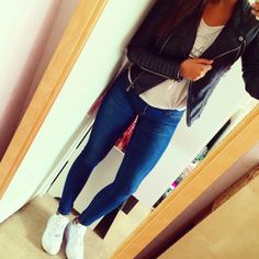 jacket biker jacket leather jacket leather cute outfit jeans nike air force ones mirror selfie
