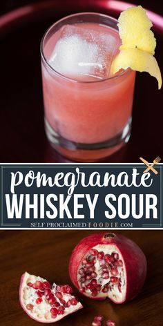 If you want a lip smacking cocktail that's perfect for the winter holidays, mix up an easy to make Pomegranate Whiskey Sour. Made with bourbon whiskey, fresh pomegrante, sugar and lemon. #whiskeysour #pomemgranate #cocktail #drink #recipe #easy #festive