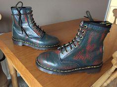 Vintage Dr Martens 1460 Green red leather boots UK 4 EU 37 England punk skin