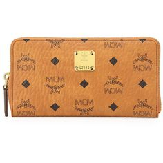 Mcm Heritage Line Large Zip Wallet, Cognac ($460) ❤ liked on Polyvore featuring bags, wallets, purses, wallet, mcm, cognac, mcm wallet, large zipper wallet, large zip bags and zip around wallet