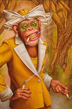 Donald Roller Wilson-Looks like my Great Aunt Lois Miranda Filibusta Wilson Art, Monkey Art, Lowbrow Art, Chimpanzee, Pop Surrealism, Whimsical Art, Surreal Art, Pet Portraits, Cat Art