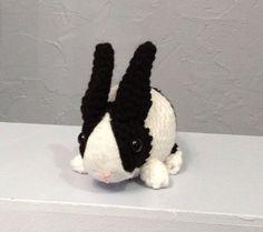 Dutch Bunny  Black and White  Stuffed Animal  Amigurumi by meddywv, #Stuffed Animals  http://stuffed-animals.kira.lemoncoin.org