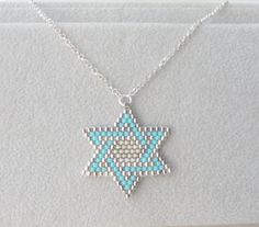 Star of david necklace Jewish jewelry Magen david Judaica Jewelry Turquoise Star of David Bat mitzvah necklace Beaded Jewelry Designs, Bead Jewellery, Jewelry Bracelets, Loom Beading, Beading Patterns, Body Jewelry Shop, Jewish Jewelry, Star Of David, Schmuck Design
