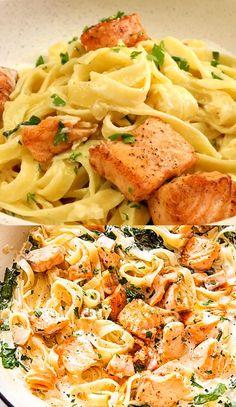 Creamy Salmon Pasta, Salmon Pasta Recipes, Salmon Dishes, Pasta Salad Recipes, Shrimp Recipes, Fish Recipes, Indian Food Recipes, Italian Recipes, Vegetarian Recipes