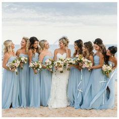 Bridesmaid Rompers, Beach Wedding Bridesmaid Dresses, Beach Wedding Bridesmaids, Beach Wedding Colors, Bridesmaid Dress Colors, Dream Wedding Dresses, Light Blue Bridesmaids, Strapless Bridesmaid Dresses, Wedding On The Beach