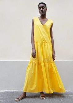 Sleeveless Maxi Dress in Sunflower Yellow – The Frankie Shop Weather Wear, Warm Weather, New Fashion, Womens Fashion, Ruffle Skirt, Summer Dresses, Clothes For Women, Yellow, My Style