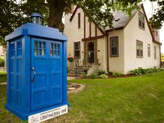 A Tardis Little Free Library by Zach Pierce. Eagan, MN. Take a book, leave a book - Free Library - Give it Forward #KeepPrintAlive