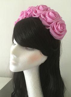 Floral Flower Garland Crown Headband Festival Boho Wedding Vintage Pink Roses