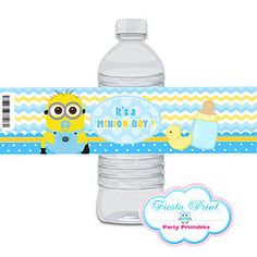 MINION Baby Shower Water labels #minionsparty #minionspartyprintables #babyshower #minionsbabyshower