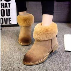Women Winter Boots Warm Flock Platform Shoes Woman Snow Boots Ankle Sliding Into Flats Women Shoes Casual