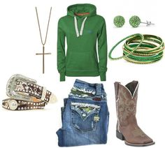 John Deere green country girl outfit. I would wear everything but the neckless