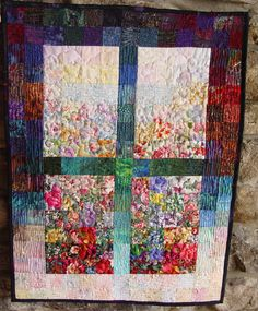 Art Quilt Garden Window Quilted Fabric Wall Hanging by TahoeQuilts ... : impressionist quilts - Adamdwight.com