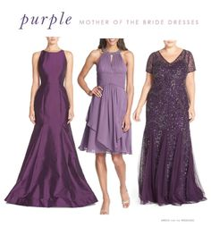 Purple dresses for mothers of the wedding, some of the best purple mother of the bride dresses and gowns.