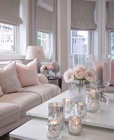 37 Cute Pink Living Room Design Ideas - Modul Home Design Silver Living Room, Living Room White, White Rooms, Cozy Living Rooms, Apartment Living, Living Room Furniture, Modern Furniture, Silver Room, Apartment Chic