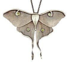 "Necklace | Nancy Edwards.  ""Luna Moth"".  Oxidized sterling silver and tourmalines"