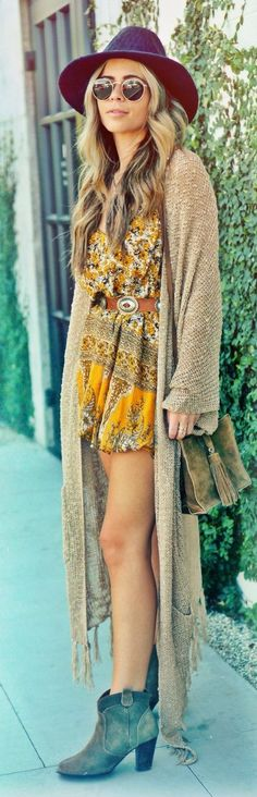 Beige Lady Open Knit Overzized Long Line Cardigan and 70's inspired dress by Pearl Oyster