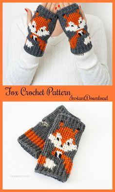Fox Fingerless Gloves crochet pattern, instant download, found on Etsy #ad #Etsy #fox #crochet
