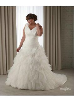 full figured wedding dresses | ...  Bridal  V Neck Organza Full Figure Wedding Dress Plus Size