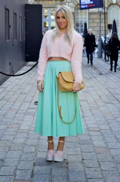 London fashion week : River Island cropped fluffy jumper in pink   Asos mint scuba midi skirt   River Island Skully Cleated Platforms, Vintage Side Of Style Balmain bag