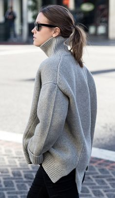 grey turtleneck sweater #minimal #style #outfit