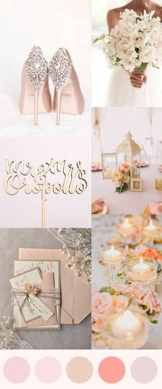 Blush, rose gold, peach, coral wedding color inspiration