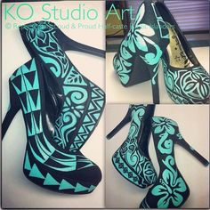 Polynesian inspired turquoise and black pumps. These shoes are ab fab!