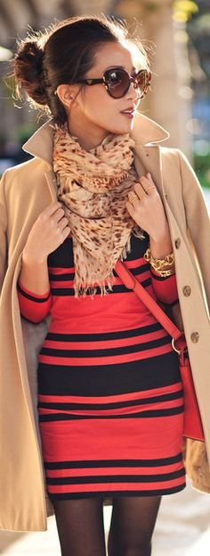 Striped dress with tan coat. Perfect for fall! Love this look. Wendy look book #fashion