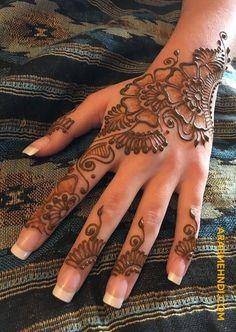 Easy and simple Eid mehndi design for back hand - Henna - Eid Mehndi Designs, Mehndi Designs Finger, Pretty Henna Designs, Latest Henna Designs, Henna Tattoo Designs Simple, Beginner Henna Designs, Mehndi Designs For Girls, Mehndi Designs For Fingers, Mehndi Simple