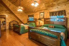 Pigeon Forge cabin rental in the Smoky Mountains. Pigeon Forge Cabin Rentals, Smoky Mountains Cabins, Bunk Beds, Wedding Venues, Vacation, Furniture, Home Decor, Wedding Reception Venues, Wedding Places