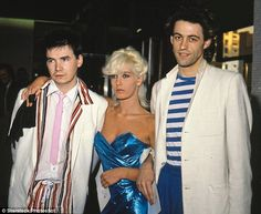 Johnnie Fingers (pictured left) with Bob Geldof and Geldof's future wife Paula Yates in 19...